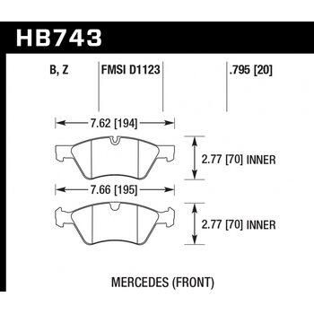 Колодки тормозные HB743Z.795 HAWK PC; 20mm