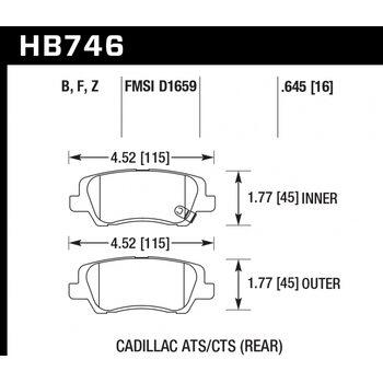 Колодки тормозные HB746F.645 HAWK HPS  ; 17mm