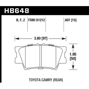 Колодки тормозные HB648B.607 HAWK Street 5.0 задние TOYOTA CAMRY 2007->/RAV 4 2005->