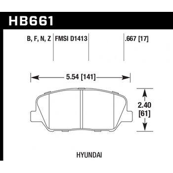 Колодки тормозные HB661F.667 HAWK HPS KIA Ceed GT; HYUNDAI VELOSTER, i30
