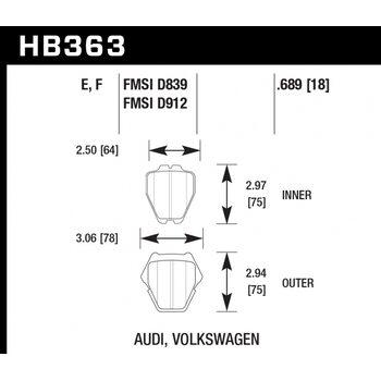 Колодки тормозные HB363F.689 HAWK HPS Audi A6 Quattro, A8, A8 Quattro, S4 & S6 - 8 Pad Set - Front
