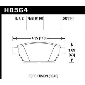 Колодки тормозные HB564B.567 HAWK Street 5.0 задние FORD Fusion 06-> / Mazda 6 08->
