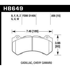 Колодки тормозные HB649R.605 HAWK Street Race; 16mm