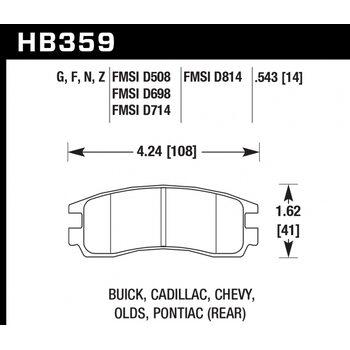 Колодки тормозные HB359N.543 HAWK HP Plus; 14mm