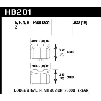 Колодки тормозные HB201Z.620 HAWK PC; 16mm