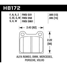 "Колодки тормозные HB172E.595 HAWK Blue 9012 Porsche 911 ""M"" Caliper 15 mm"