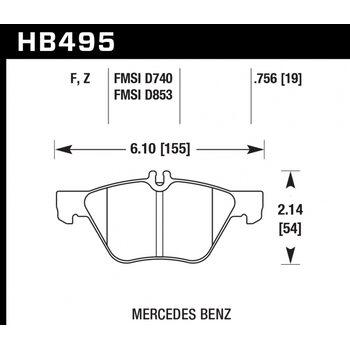 Колодки тормозные HB495F.756 HAWK HPS передние MERCEDES CLK320 (C208), W210