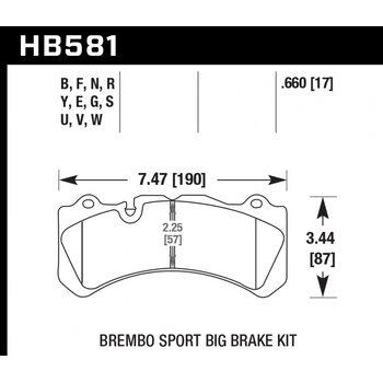 Колодки тормозные HB581B.660 HAWK Street 5.0 Brembo 6 поршней тип J, N / PORSCHE 911 (997) 3.8 GT3