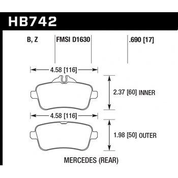 Колодки тормозные HB742Z.690 HAWK PC; 18mm