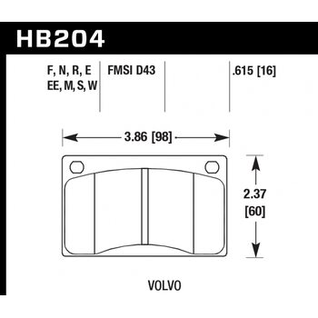 Колодки тормозные HB204R.615 HAWK Street Race