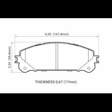Колодки тормозные HB783F.692 HAWK HPS; перед RX350 2010-> ; HIGHLANDER 2010->