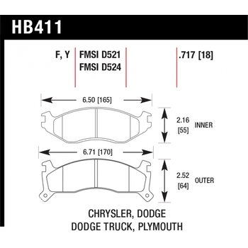 Колодки тормозные HB411F.717 HAWK HPS; 18mm