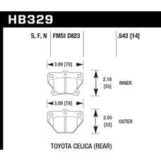 Колодки тормозные HB329S.543 HAWK HT-10; Toyota Celica  (Rear) 14mm