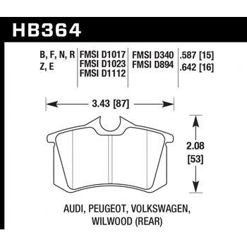 Колодки тормозные HB364B.642 HAWK Street 5.0 Audi A3, A4, A6, A8, S3, S4, S6, S8 & TT - Rear