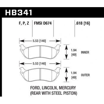 Колодки тормозные HB341Z.618 HAWK PC; 16mm