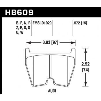 Колодки тормозные HB609B.572 HAWK 5.0  AUDI RS4, RS6, R8, Brembo G (комплект 8 шт.) / JBT FB8P