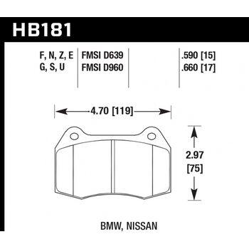 Колодки тормозные HB181Z.660 HAWK PC; 17mm