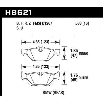 Колодки тормозные HB621B.638 HAWK Street 5.0 BMW E90/E91/E92 318/320/325/330/E87 130i  Rear