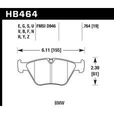 Колодки тормозные HB464F.764 HAWK HPS передние BMW  3' (E46), M3 (E46), 5 (E39), X3 (E83)
