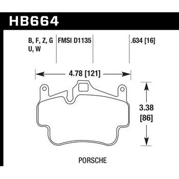 Колодки тормозные HB664Z.634 HAWK Perf. Ceramic  Porsche 911 (997), Boxster 2008-2011; Cayman 2005-2