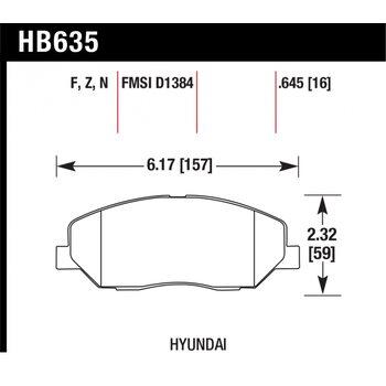 Колодки тормозные HB635N.645 HAWK HP Plus; 17mm