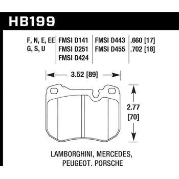 Колодки тормозные HB199F.660 HAWK HPS; 17mm