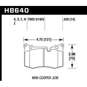 Колодки тормозные HB640N.550 HAWK HP+ передние MINI 2009-> JOHN COOPER WORKS