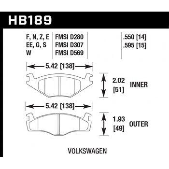 Колодки тормозные HB189F.595 HAWK HPS; 15mm