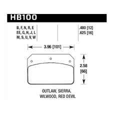Колодки тормозные HB100F.625 HAWK HPS; 16mm