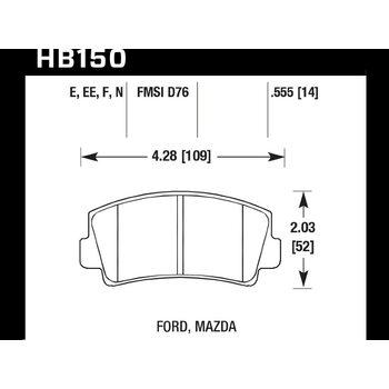 Колодки тормозные HB150N.555 HAWK HP Plus