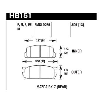 Колодки тормозные HB151N.505 HAWK HP Plus; 13mm
