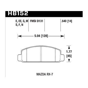 Колодки тормозные HB152N.540 HAWK HP Plus