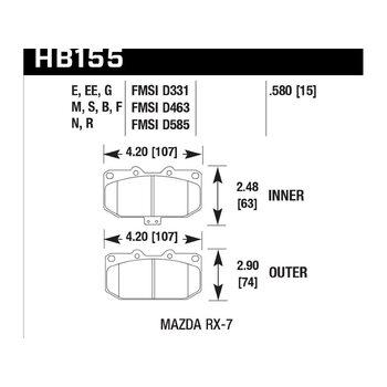 Колодки тормозные HB155B.580 HAWK Street 5.0 передние MAZDA RX-7