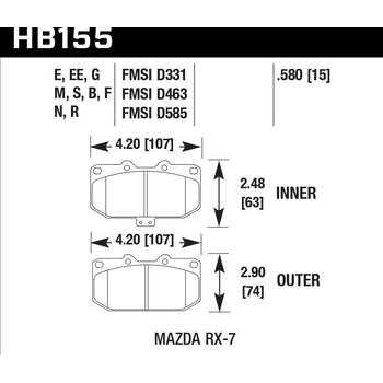 Колодки тормозные HB155F.580 HAWK HPS передние MAZDA RX-7