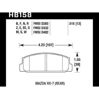 Колодки тормозные HB158B.515 HAWK Street 5.0 Mazda RX-7 задние