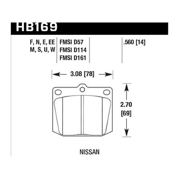 Колодки тормозные HB169N.560 HAWK HP Plus