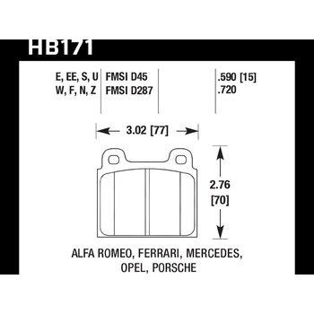 Колодки тормозные HB171Z.590 HAWK PC; 15mm