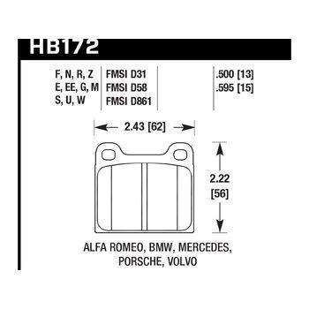Колодки тормозные HB172N.595 HAWK HP Plus