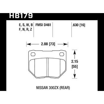 Колодки тормозные HB179F.630 HAWK HPS задние SUBARU Impreza WRX