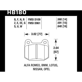 Колодки тормозные HB180R.560 HAWK Street Race задние MMC Lancer Evo V-IX / SUBARU WRX Sti