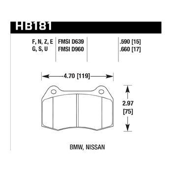 Колодки тормозные HB181N.590 HAWK HP+ передние Nissan Skyline GT-R R33 / R34; Honda Integra DC5