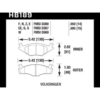 Колодки тормозные HB189N.595 HAWK HP Plus