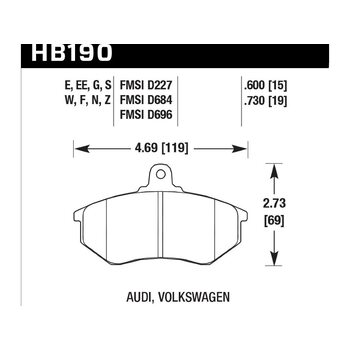 Колодки тормозные HB190F.600A HAWK HPS передние VW Golf II,III