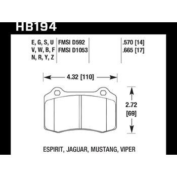 Колодки тормозные HB194F.665 HAWK HPS