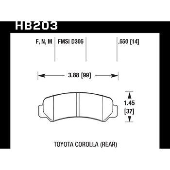 Колодки тормозные HB203N.550 HAWK HP Plus