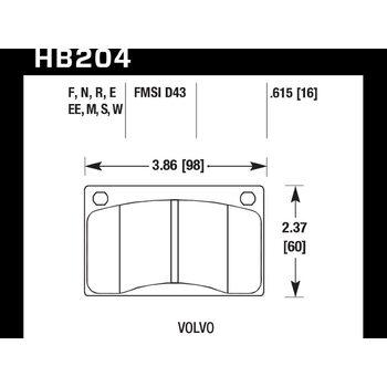 Колодки тормозные HB204N.615 HAWK HP Plus