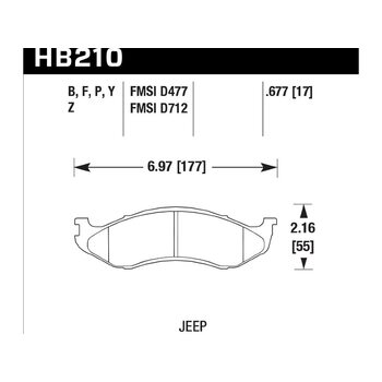 Колодки тормозные HB210Z.677 HAWK PC передние JEEP / KIA