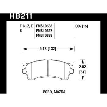 Колодки тормозные HB211N.606 HAWK HP Plus