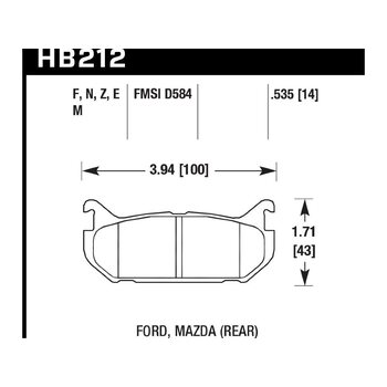 Колодки тормозные HB212F.535 HAWK HPS