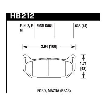Колодки тормозные HB212N.535 HAWK HP Plus